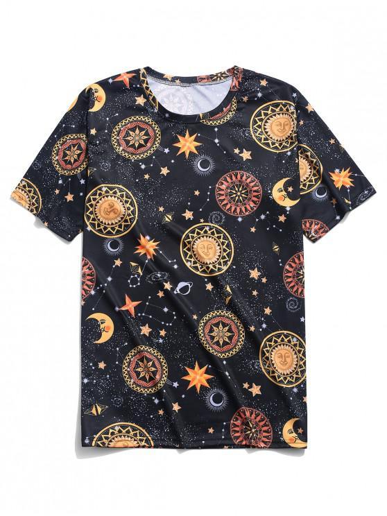 shops Galaxy Cartoon Sun Moon Star Floral Print T-shirt - BLACK 4XL
