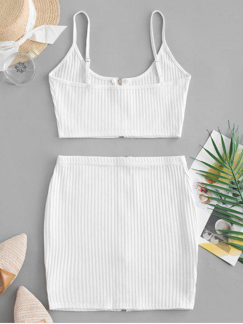 hot Zip Up Crop Top and Sheath Skirt Set - WHITE M Mobile