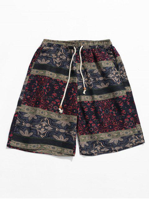 Pantalones cortos étnicos tribales de impresión floral - Multicolor M Mobile