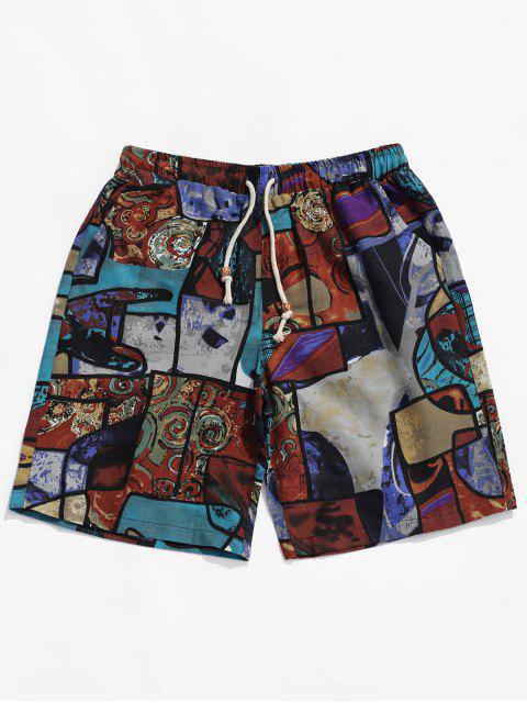 Pantalones cortos con estampado geométrico de pintura geométrica tribal étnica - Multicolor M Mobile