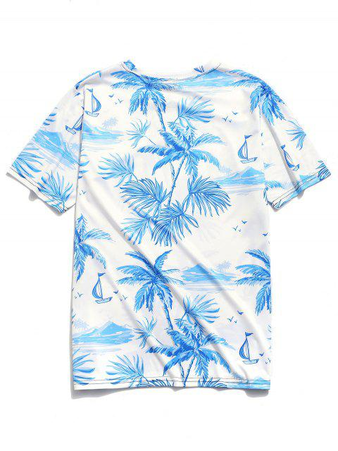 Camiseta con estampado de palmeras de Hawaii de Beach - Blanco XL Mobile
