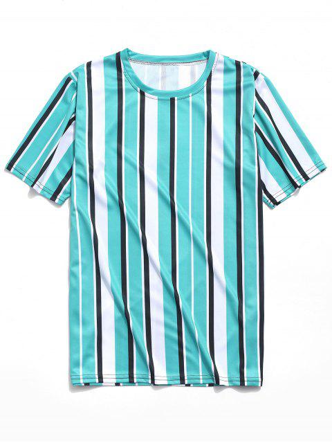 shop Short Sleeves Vertical Stripes Print Casual T-shirt - MACAW BLUE GREEN M Mobile