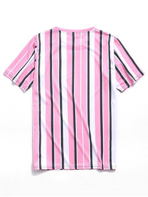 Camiseta Casual Manga Corta Estampada Rayas Verticales - Rosado M Mobile