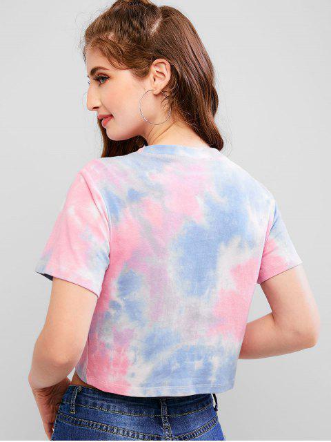 unique ZAFUL Moon Print Tie Dye Crop Tee - MULTI S Mobile