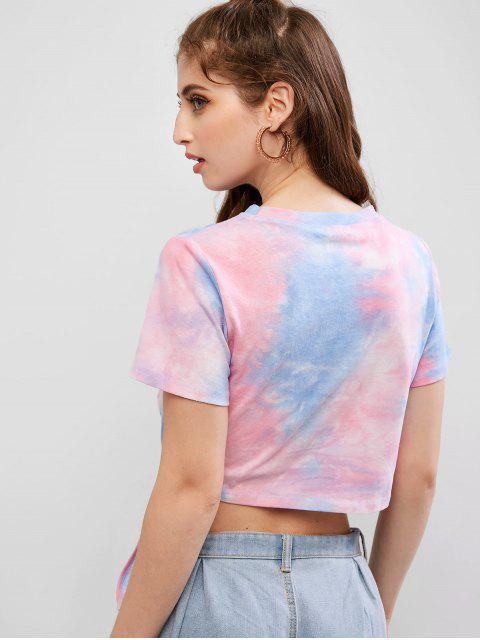 ZAFUL Tee-shirt noué avec imprimé Tie Dye Moon - Multi L Mobile