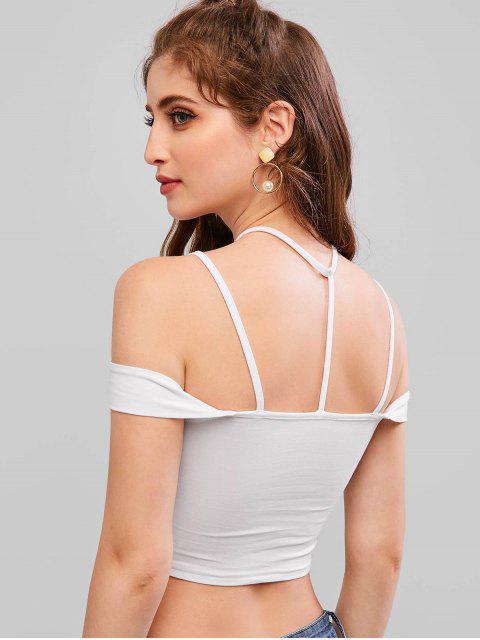 T-shirt Ras-du-cou Court Tordu à Epaule Dénudée - Blanc M Mobile