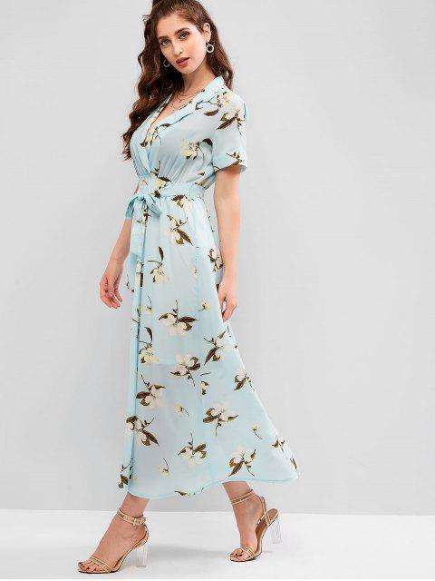 ZAFUL Robe Ceinturée Longueur à Cheville Fleur Imprimée à Revers - Multi L Mobile