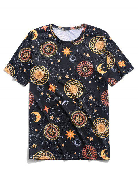 Camiseta Galaxy con estampado floral de Sun Moon Star - Negro XL Mobile