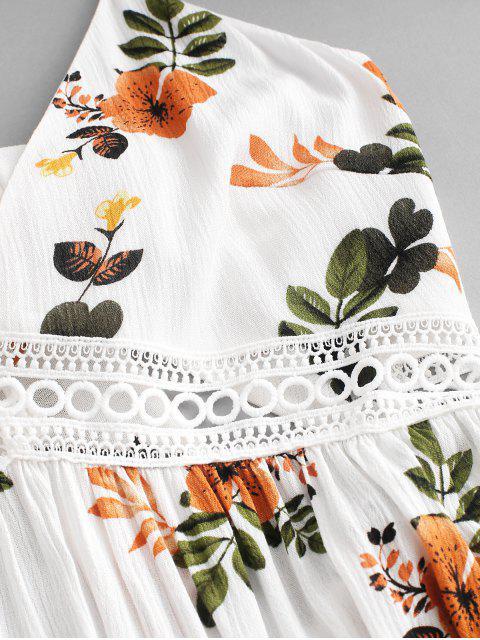 trendy ZAFUL Floral Print Knot Back Flare Dress - WHITE S Mobile