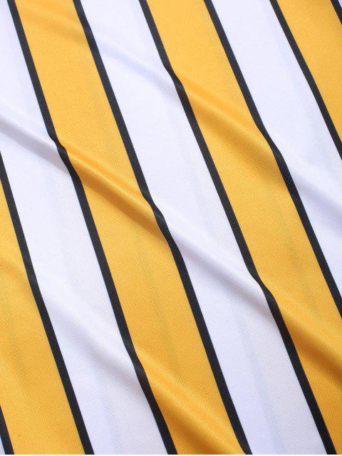Camiseta de Rayas de Color Bloque - Amarillo M Mobile