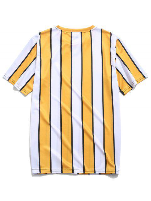 women Color Block Striped Print T-shirt - YELLOW XL Mobile