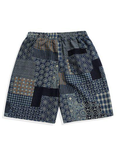 55ca655daed6b ... Ethnic Tribal Plaid Floral Geometric Print Casual Shorts - Multi Xs