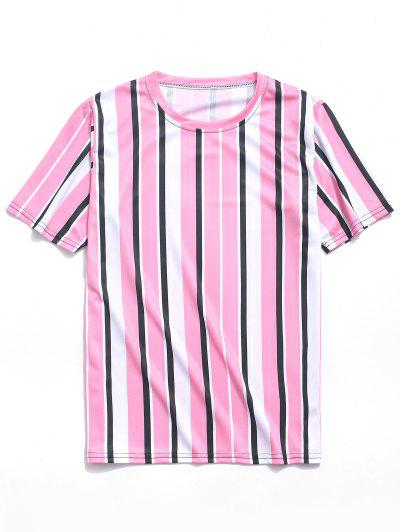 89967e5743ee Short Sleeves Vertical Stripes Print Casual T-shirt - Pink M ...