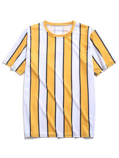 Color Block Striped Print T-shirt - Yellow 2xl