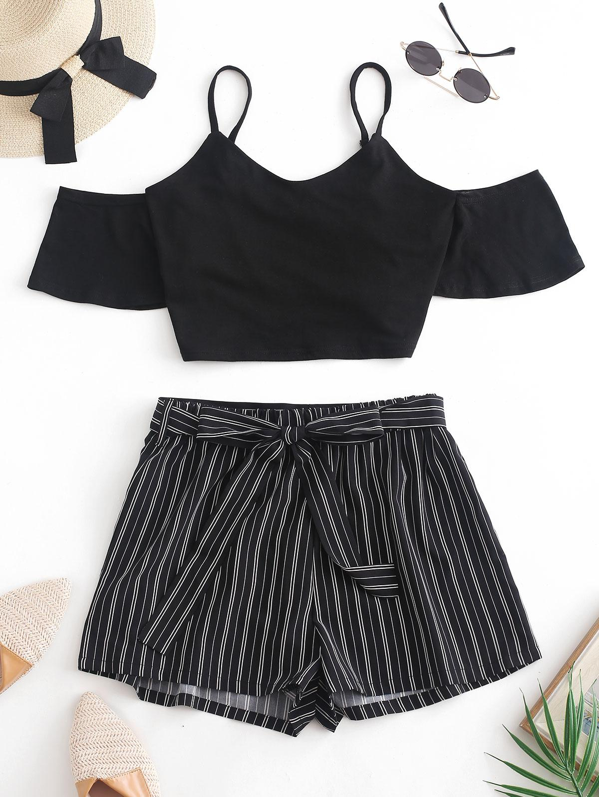 ZAFUL Crop Cami Top and Striped Belted Shorts Set, Black