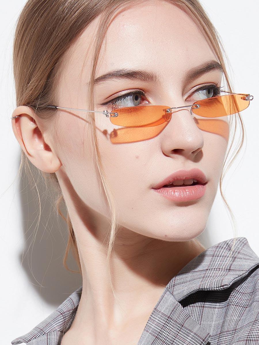 Narrow Lens Rectangle Rimless Sunglasses, Orange