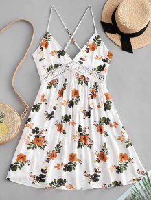 ZAFUL طباعة الأزهار عقدة فستان مضيئة الظهر - أبيض S
