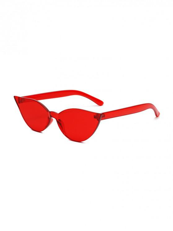 shop Candy Color Integral Rimless Sunglasses - LAVA RED