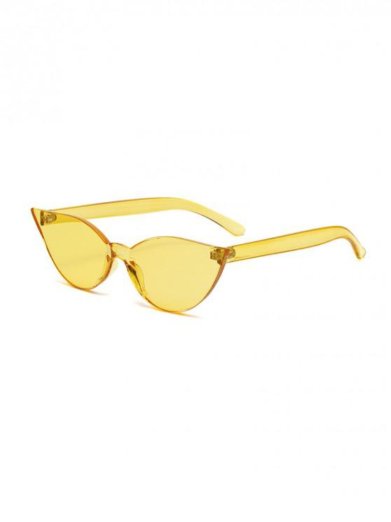 womens Candy Color Integral Rimless Sunglasses - RUBBER DUCKY YELLOW