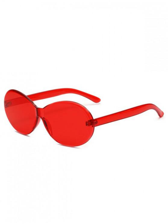 fashion Vintage Integral Rimless Oval Sunglasses - LAVA RED