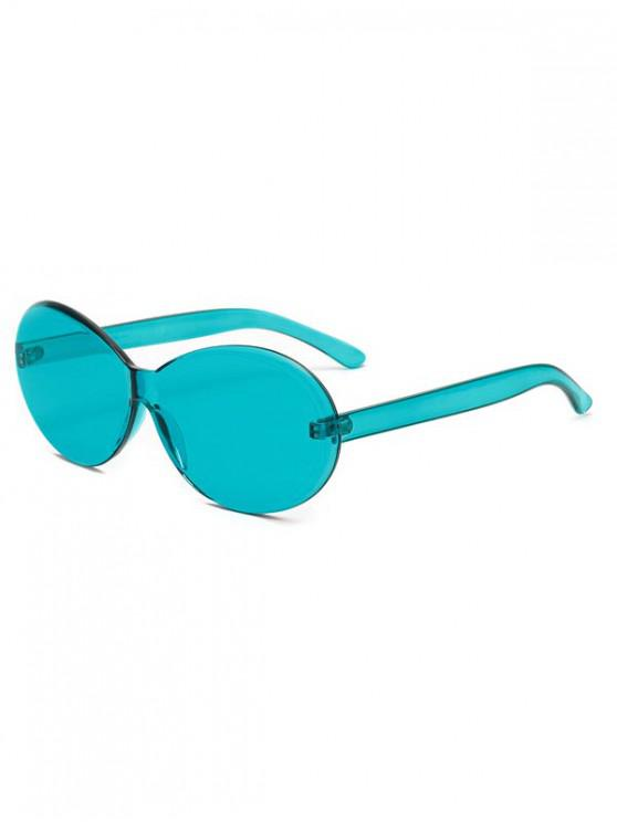 unique Vintage Integral Rimless Oval Sunglasses - MACAW BLUE GREEN