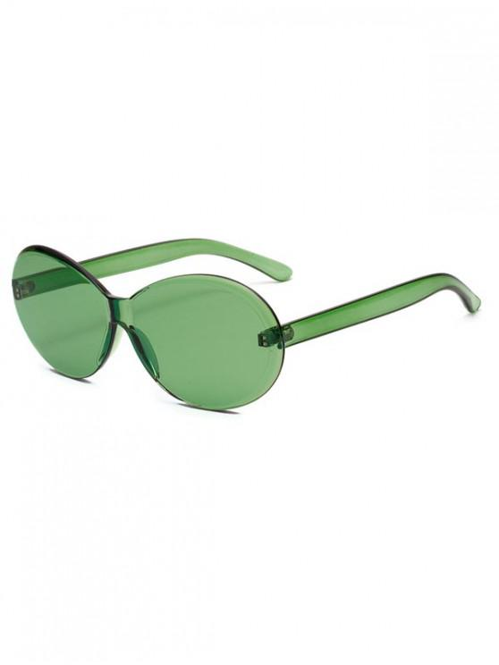 affordable Vintage Integral Rimless Oval Sunglasses - CLOVER GREEN