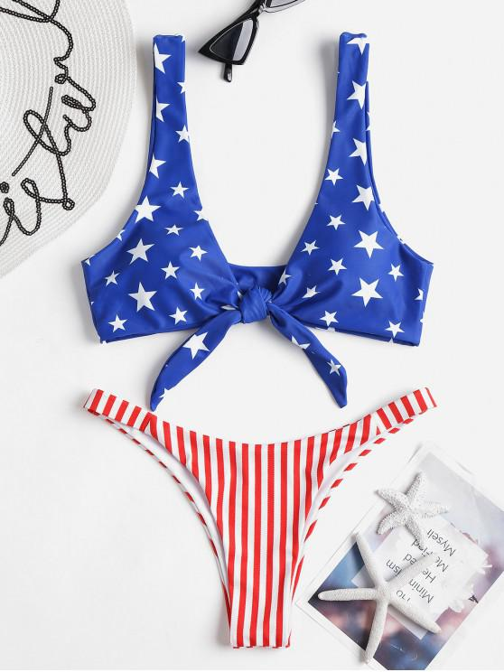 unique Tie Front American Flag Bikini Set - SAPPHIRE BLUE S