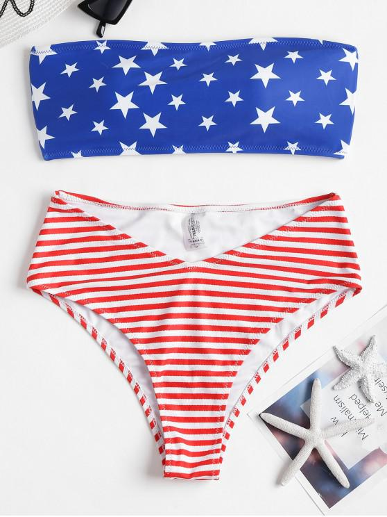 fashion Strappy American Flag High Waisted Bikini Swimsuit - SAPPHIRE BLUE M