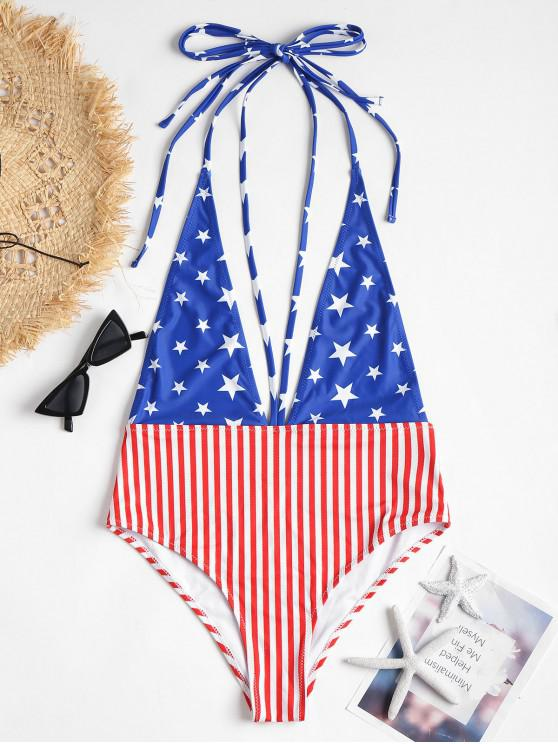 926dce7b326 39% OFF] 2019 Halter American Flag One-piece Swimsuit In MULTI | ZAFUL