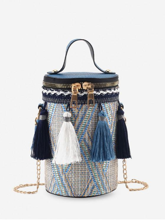 outfits Tassel Decoration Woven Crossbody Bag - OCEAN BLUE