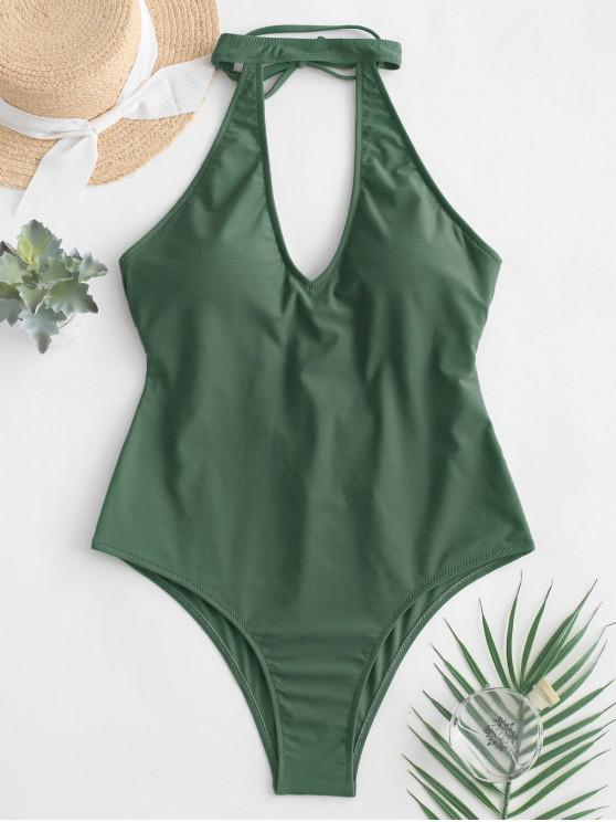 chic ZAFUL Tie Cutout Halter One-piece Swimsuit - CAMOUFLAGE GREEN M
