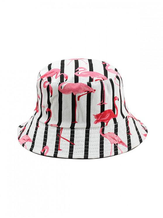 chic Animal Print Double-face Bucket Hat - WHITE
