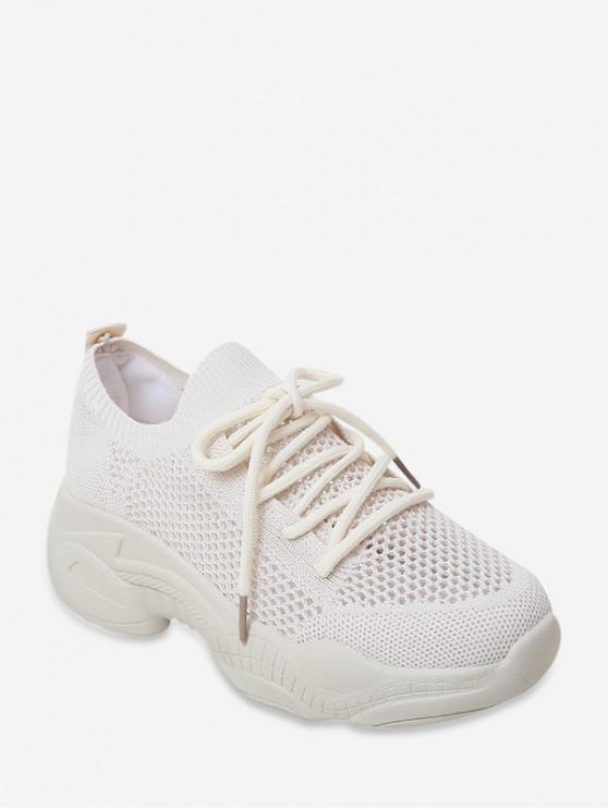 fancy Hollow Out Decoration Breathable Sneakers - WHITE EU 39