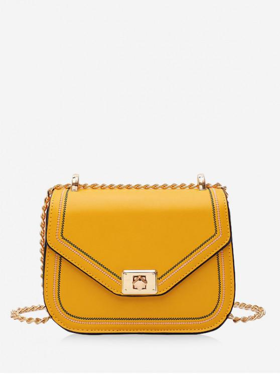 best PU Solid Chain Shoulder Bag - YELLOW