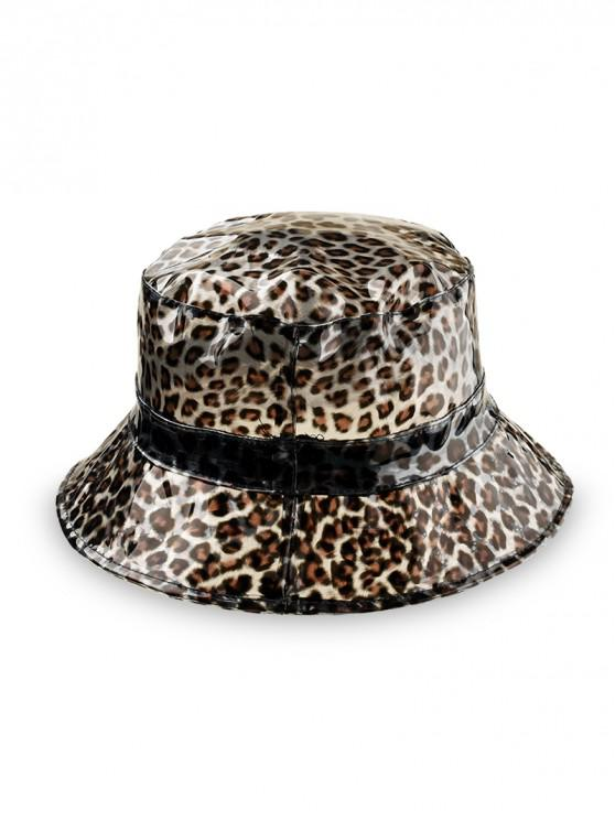 outfits Leopard Transparent Plastic Bucket Hat - BLACK