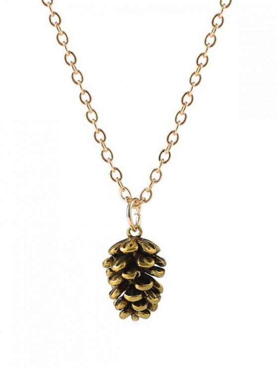 Breve collar colgante de cono de pino - Oro