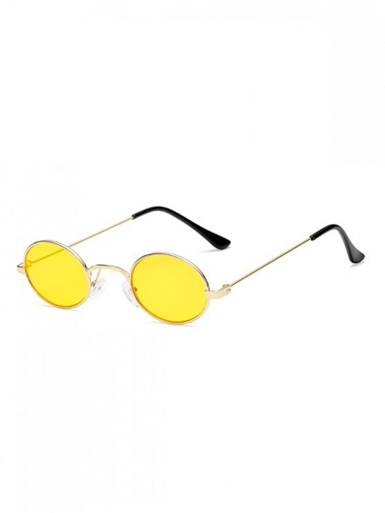 online Vintage Metal Small Oval Sunglasses - YELLOW