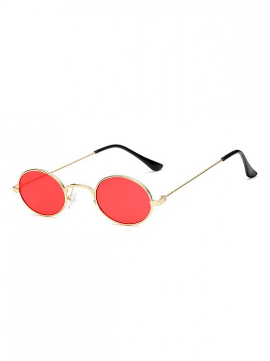 women's Vintage Metal Small Oval Sunglasses - RED