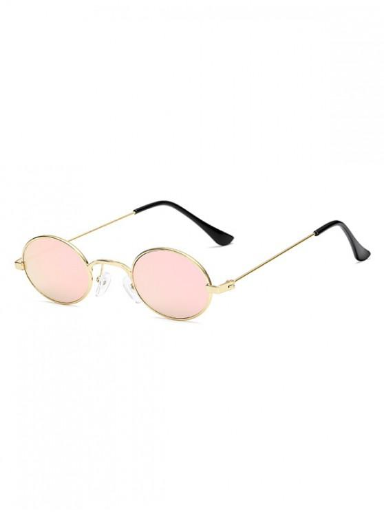 lady Vintage Metal Small Oval Sunglasses - HOT PINK