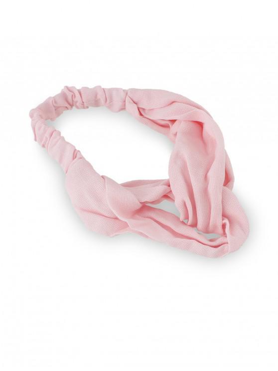 Diadema de algodón elástico sólido - Rosa Claro