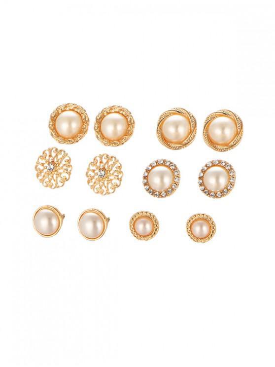 6 pares de perlas redondas de perlas de imitación conjunto - Oro