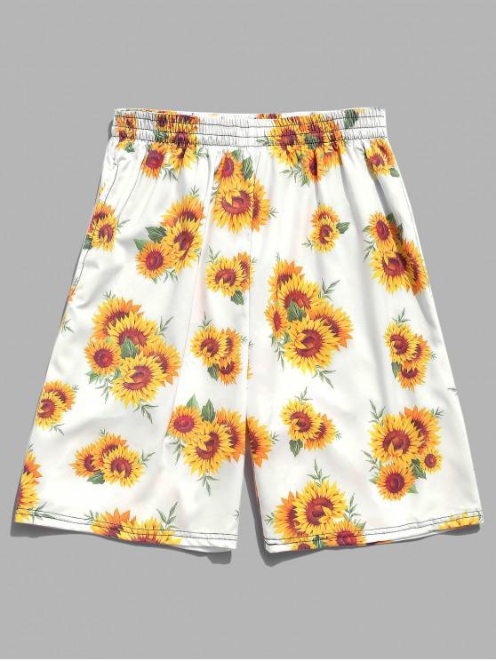 Shorts de playa de Hawaii con estampado de girasoles - Blanco M