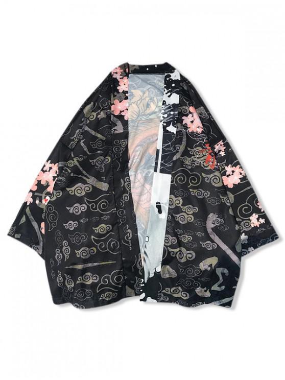 women Floral Sea Waves Dragon Print Kimono Cardigan Shirt - BLACK XL