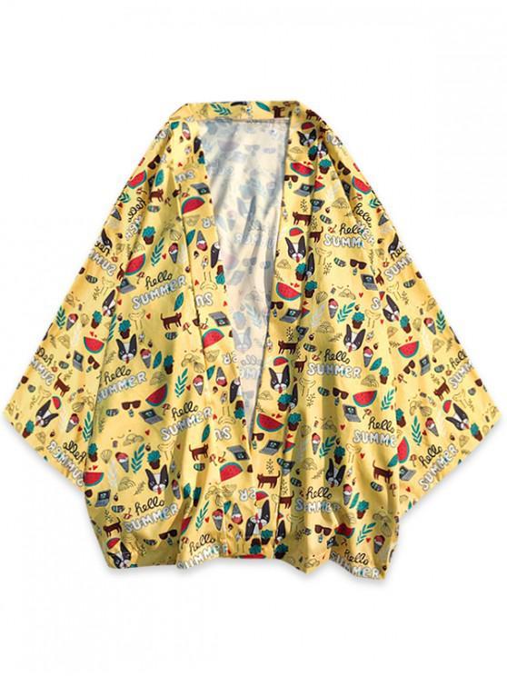 fancy Summer Elements Graphic Print Kimono Cardigan Shirt - YELLOW 2XL