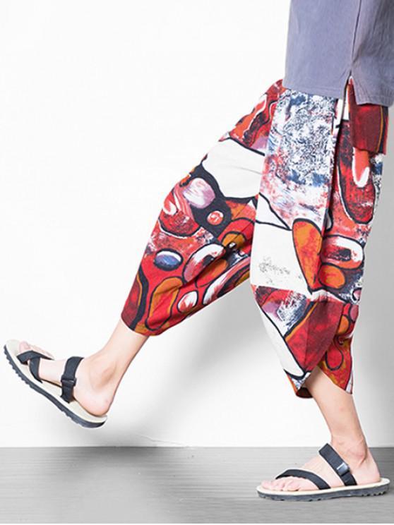 Pantalones harem casual con estampado gráfico y coloridos - Rojo XL