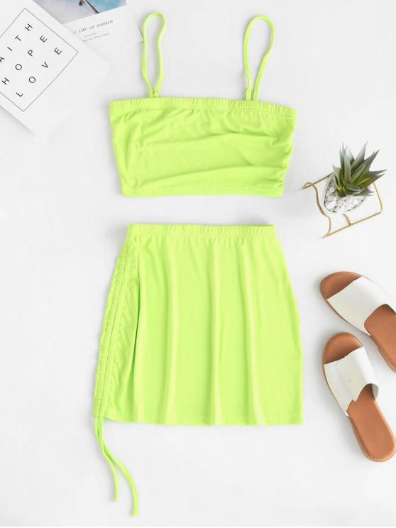 trendy ZAFUL Cami Top And Cinched Asymmetrical Skirt - YELLOW GREEN M