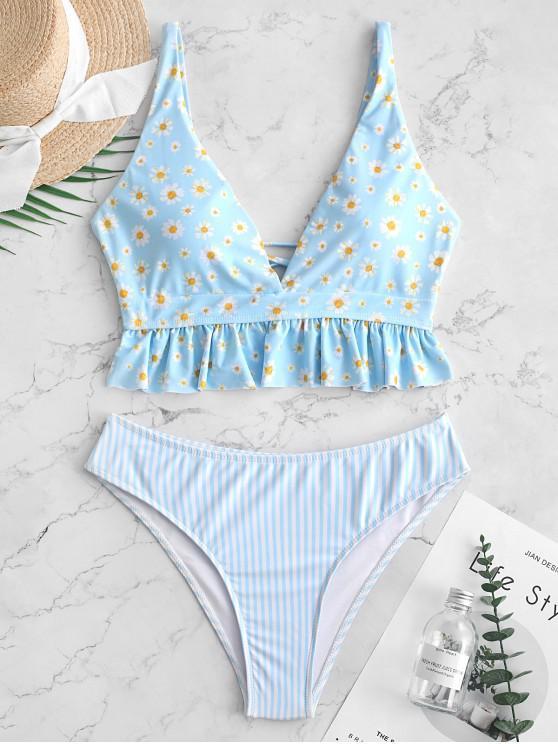 women ZAFUL Ruffles Lace Up Daisy Stripes Tankini Swimsuit - MULTI-A L