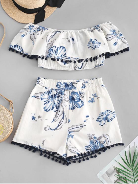best ZAFUL Flower Pom Pom Off Shoulder Shorts Set - WHITE S