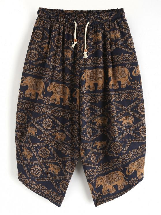 women Elephant Floral Ethnic Tribal Print Cropped Pants - MULTI M