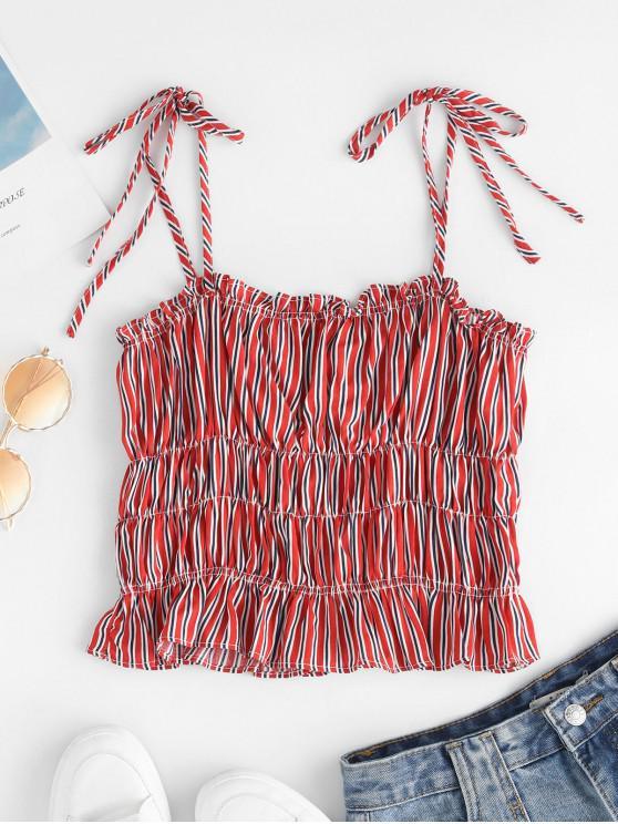 outfit ZAFUL Striped Tie Shoulder Ruffled Crop Cami Top - MULTI-A M